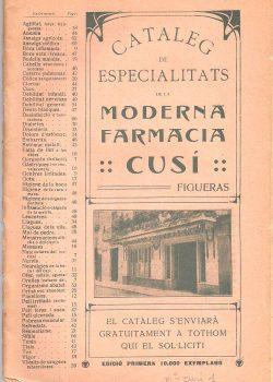 1913- Catàleg d'especialitats de la Moderna Farmàcia Cusí
