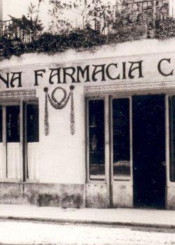 Façana de la Moderna Farmàcia Cusí fundada per Joaquim Cusí l'any 1902 a Figueres.